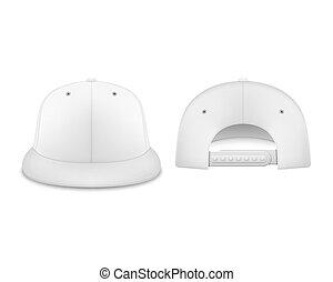 closeup, vista, set, marcare caldo, render, realistico, manichino, berretto, isolato, indietro, fondo., vettore, disegno, sagoma, vuoto, fronte, baseball, bianco, icona, advertise., 3d