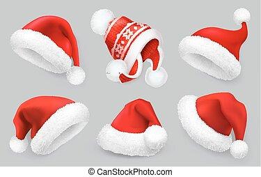 clothes., realistico, inverno, claus, santa, set, natale, icona, vettore, hat., 3d