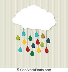 cloud., astratto, vettore, creativo
