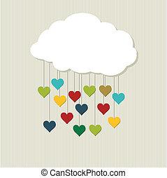 cloud., vettore, amore
