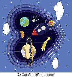 clouds., stelle, fuori, stringhe, taglio, appeso, meteorite., mercurio, saturno, satellite, pianeti, satellite spaziale, cartone animato, terra, cuore, stars., paper., razzo, carta