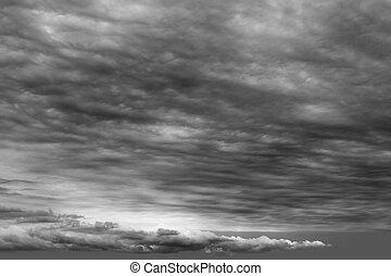 cloudscape, nubi, tempestoso, grigio, nuvoloso, scuro, giorno