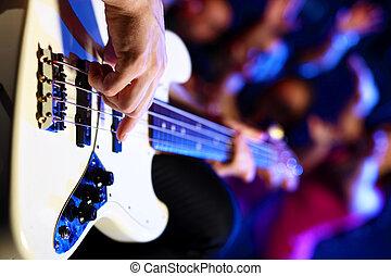 club, compiendo, giovane, giocatore chitarra, notte