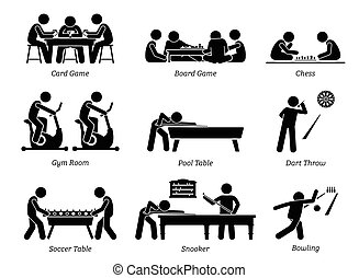 club, giochi, ricreativo, activities., interno