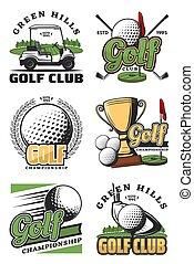 club, gioco, sport, golf, icone