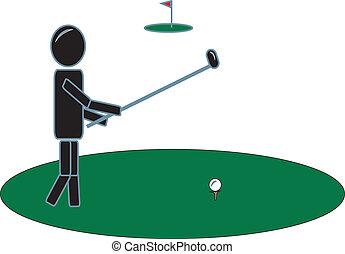 club, golf, figura bastone, altalena