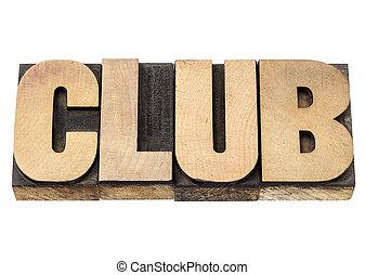 club, legno parola, tipo