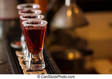 club, liquore, sale, colpi, cocktail
