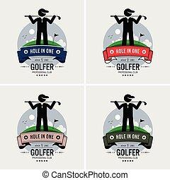 club, logotipo, golf, design.