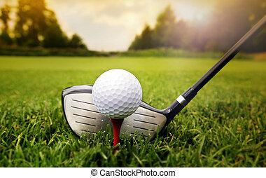 club, palla, golf, erba