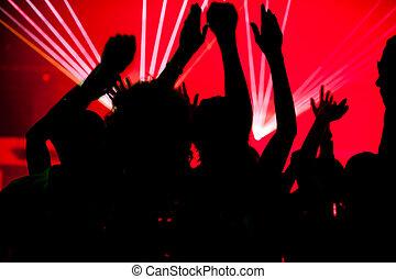 club, persone, laser, ballo