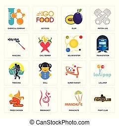 club, prugna, icone, sistema, mercato, paracadute, lotta, chimico, mascara, set, solare, trekking, fritto, super, ditta, pollo