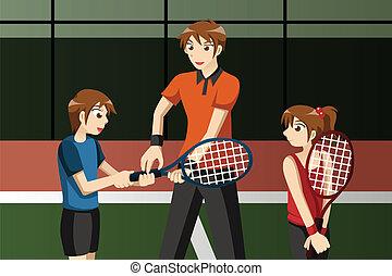 club, tennis, istruttore, bambini