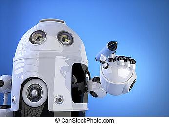 co, concept., robot, aria., penna scrittura, pennarello, tecnologia