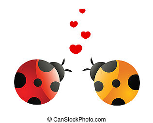 coccinelle, amore, due