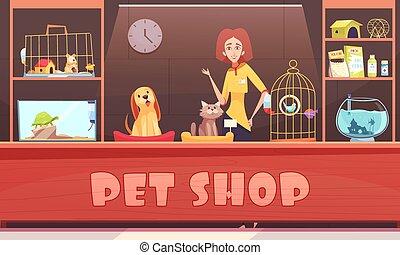 coccolare, negozio, illustrazione