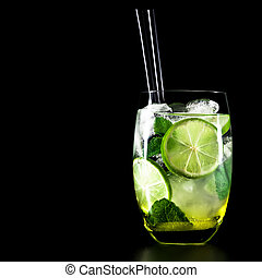 cocktail, mojito, sfondo nero, menta, calce