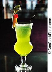 cocktail, ristorante, vetro ciliegio, verde, melone