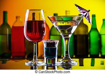 cocktail, sbarra, alcool, bibite