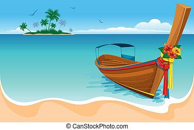 coda, lungo, barca