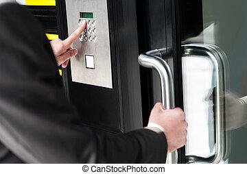 codice, porta, aprire, entrare, uomo sicurezza