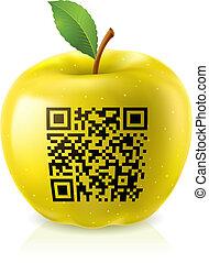 codice, qr, mela, giallo