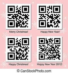 codice, set, qr, vettore, anno, nuovo, natale