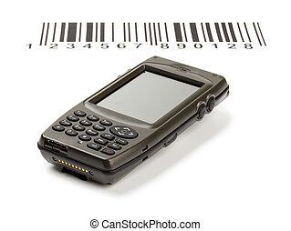 codici, sbarra, scanner, manuale, computer, elettronico