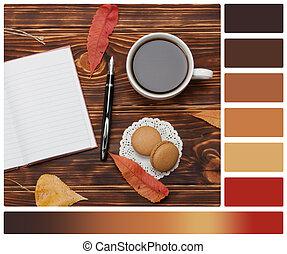 cofee., notepad., swatches, cookies., colore, tazza, tavolozza, legno, amaretto, fondo., lusinghiero, aperto