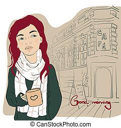 coffee., ragazza, tazza