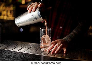 colatura, cocktail, dolce, succoso, vetro, barman