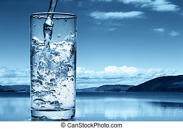 colatura, natura, contro, vetro acqua, fondo