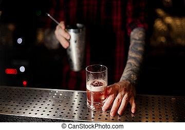 colatura, sbarra, cocktail, dolce, succoso, vetro, barman