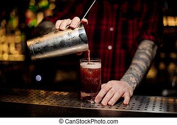 colatura, sbarra, cocktail, dolce, succoso, vetro, barman, tatuato