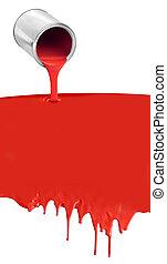colatura, vernice gocciolante, lattina, bianco rosso