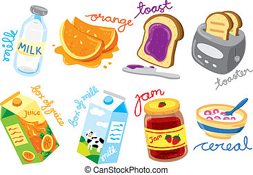 colazione, colorato, icone
