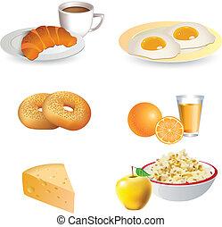 colazione, icona, set
