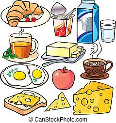 colazione, set, icone