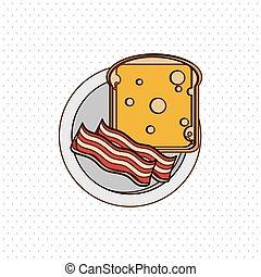 colazione, vettore, disegno, illustrazione, icona