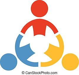 collaborare, persone., vettore, lavoro squadra, logotipo