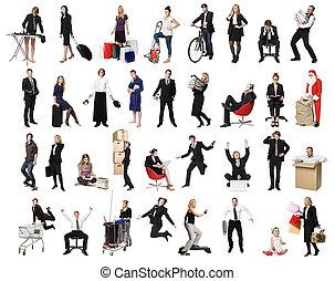 collage, attivo, persone