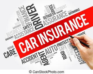 collage, automobile, parola, assicurazione, nuvola