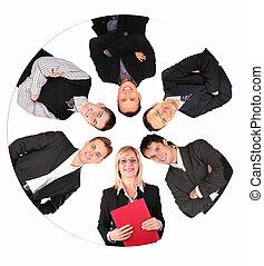collage, cerchio, persone affari
