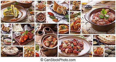 collage, cibo indiano, buffet, vario
