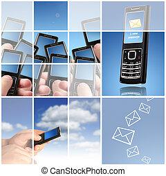 collage., comunicazione, concept.