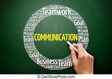 collage, comunicazione, parola, nuvola