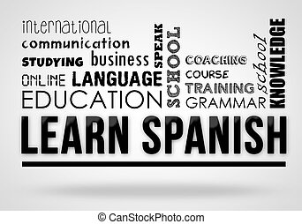 collage, concetto, -, imparare, spagnolo