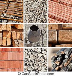 collage, costruzione, materiali