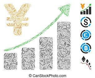 collage, crescita, lineetta, icona, grafico, yen