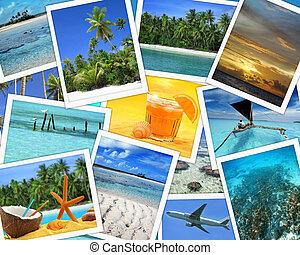 collage, destinazioni tropicali